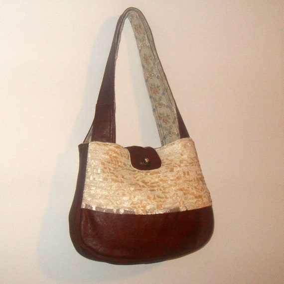 Leather Lace Purse Upcycled Bag with Vintage Floral Print Lining