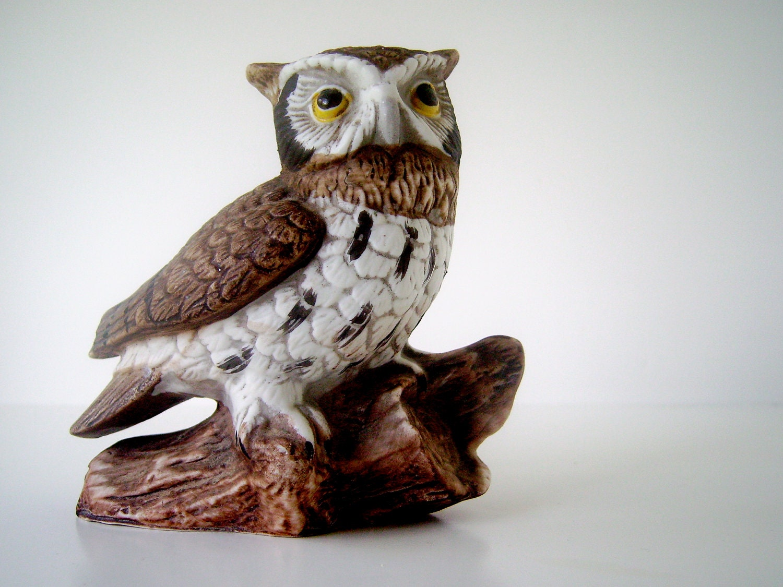 Vintage Homco Owl Figurine 1114 Barn Owl On Tree By Nyssaink