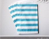 Blue Rugby Stripe Medium Favor Bags - 10