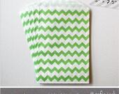 Green - Chevron - Medium Favor Bags - 10