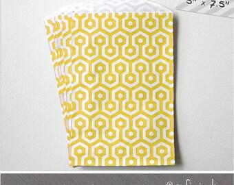 Yellow - Honeycomb - Medium Favor Bags - 10