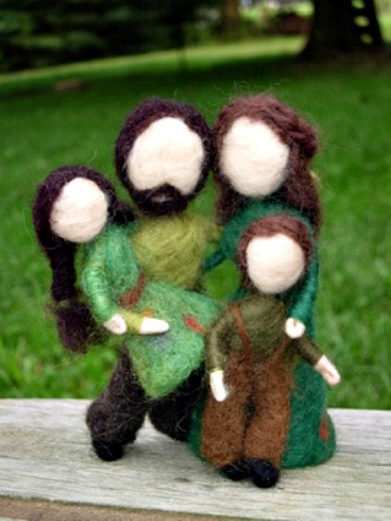 Needle Felted Family Dolls- Woodland Father, Mother, Sister, Brother-Waldorf Inspired