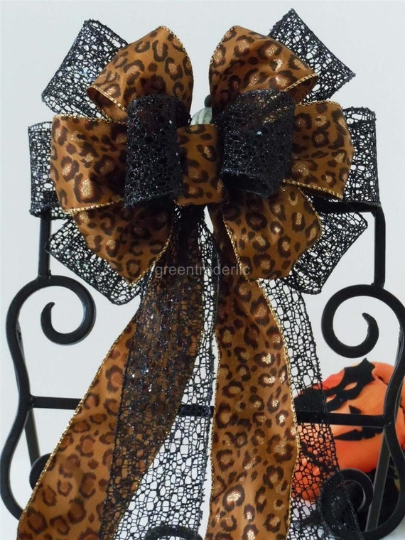 Leopard Wedding Bows Animal Print Birthday Decoration Bows Black Brown Leopard Wreath Bows Leopard Gifts Package Bows