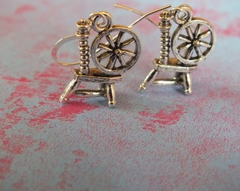 Spinning Wheel Knitting Earrings -Sterling Silver Earrings with a knitting, sewing, quilting theme