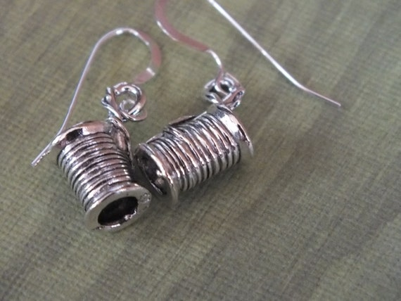 Sewing Earrings -Sterling Silver Earwires with a knitting, sewing, quilting theme -Spool of Thread