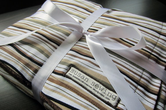 Throw Blanket - Brown Stripe with Minky Back