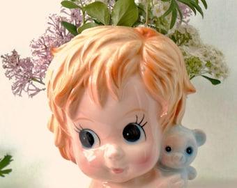 Adorable Vintage Baby Boy With Teddy Bear Ceramic Planter Or Vase, Brinn's,  Made In Japan, Blue, Home Decor