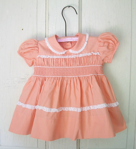 Vintage Peach Smocked All Cotton white lace dress 12 months size Little Girls Dress Baby dress