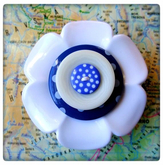 Large, white and dark blue, polka dot, flower button, brooch