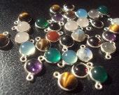 50% OFF SALE Tiny Sterling Silver Plated Gemstone Charms 8mm 5 Pieces...Garnet, Labradorite, Amethyst, Quartz, Tigereye, Moonstone, Onyx...