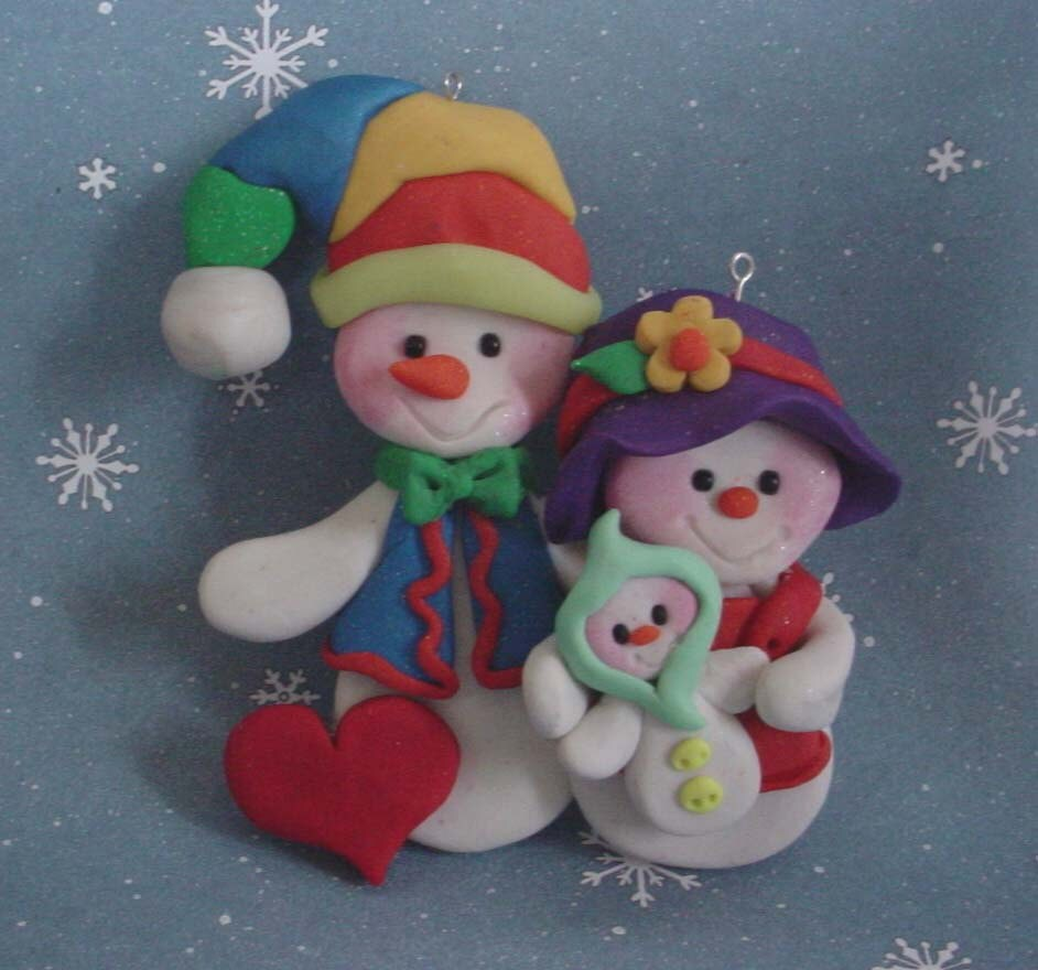 Polymer clay christmas ornament snow family by