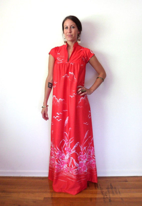 Hawaiian Bird & Floral Maxi Dress // Pink Red