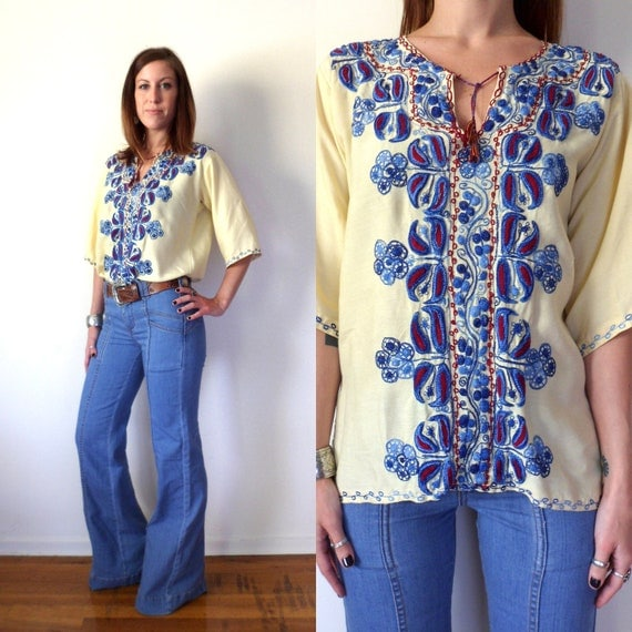 60's Vintage Yellow Ethnic Indian Embroidered Hippie Top