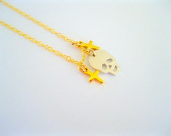 14k gold filled necklace with Tiny Skull, gifts under 50