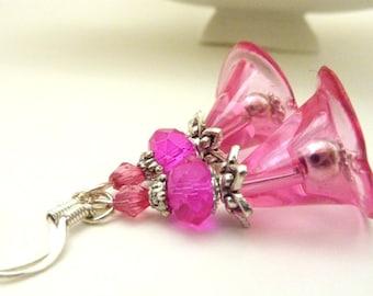 Fuchsia Flower earrings hot pink calla lily clear pink flower vintage earrings