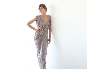 Maxi bridesmaids taupe dress , Bridesmaids short sleeves maxi gown, Taupe maxi dress 1008