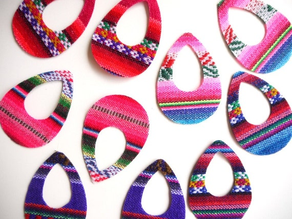 Peruvian Fabric, South American Fabric, Pre-Cut for Earrings, Jewelry Making -  10 PIECES
