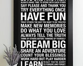 House Rules Sign, Subway Art Print, Signs with Family Rules Sign, Family Rule Signs, Playroom Rules, Typography Poster
