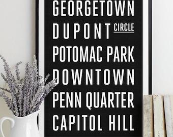 Washington DC Subway Sign Print Bus Roll City Poster
