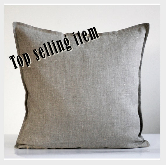 Linen pillow case natural fabric pillow cover gray by - Fabric for throw pillows ...