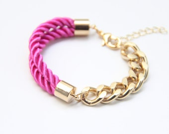 Arm candy - Half and Half: Gold chunky chain and Hot Pink Silk Bracelet - 24k gold plated
