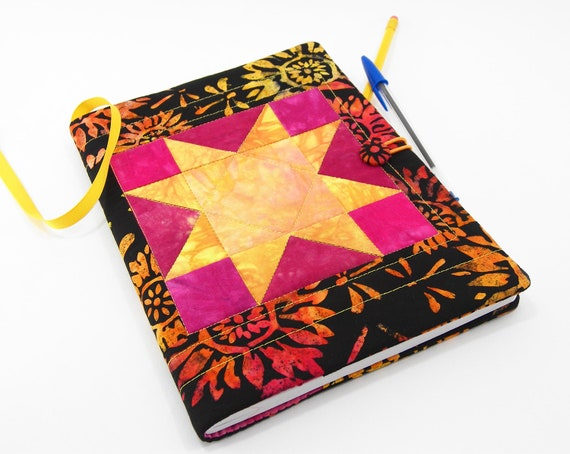 Composition Notebook Cover - Quilted Journal Cover in Hand Dyed Yellow, Peach Orange and Magenta with Black Batik