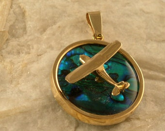 14kt or Silver Cessna Abalone Airplane Pendant