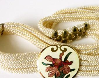 Vintage cloisonné cream belt/ pink purple iris flowers/ 80s corded rope belt/ Yen China House/ NWT/ NOS