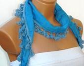 turquoise  Scarves,Turkish Fabric Fringed tasseled Scarf ..bandana,headband,wedding,bridal,authentic, romantic,
