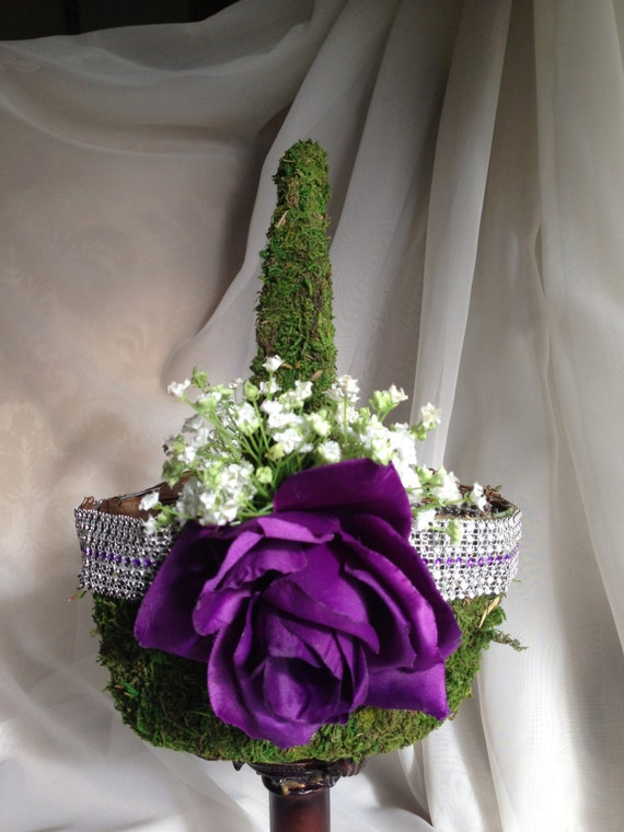 Flower Girl Baskets Green : Purple flower girl basket with green moss and by