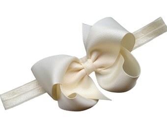 Ivory headband with ivory bow - elastic headband with bow, ivory newborn headband, baby headband, bow headband