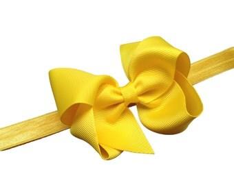 Yellow baby headband - yellow bow headband, yellow headband, newborn headband, baby headband, baby girl headband, baby bows, headbands