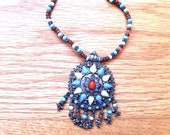 Native American Style Necklace in Silver Metal with Turquoise, Coral, Pale Yellow and White Beads