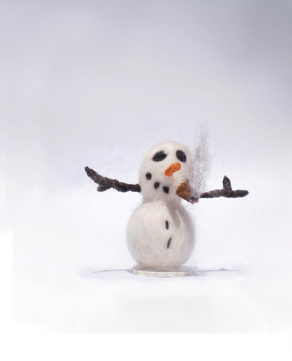 Snowman smoking a cigar - needle felted - acrylic accents