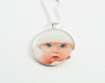 Photo Necklace in Sterling Silver | Personalized Photo Necklace | Custom Photo Pendant | Mothers Day Jewelry