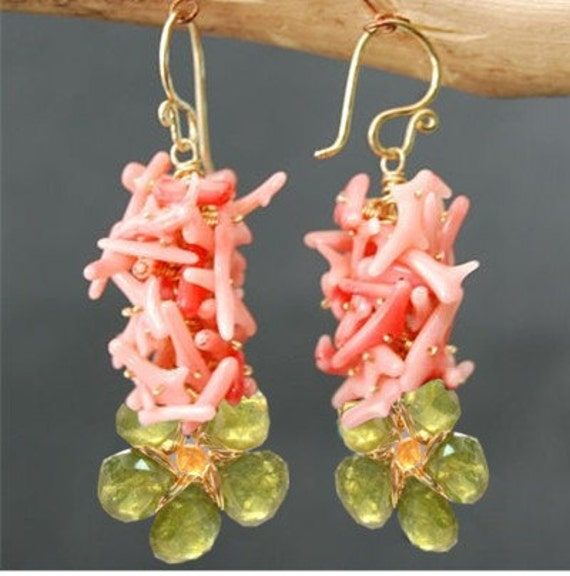 Colorful cluster of pink coral, idocrase floral earrings Princess 169