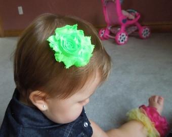 Shabby Chic Flower, Neon Lime Green Hair Clip, Baby Bow, Baby Girl Headband, Newborn Headband.