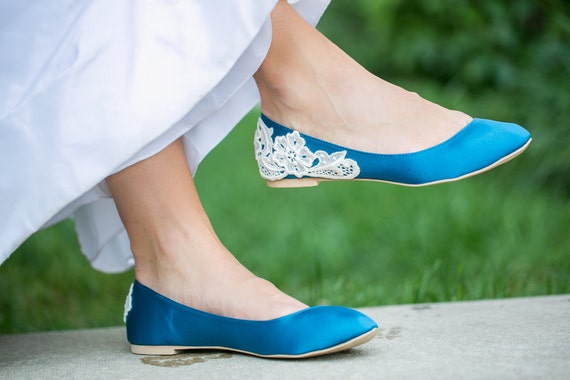 SALE - Teal Blue Bridal Flats/ Teal Wedding Shoes, Teal Flats, Satin Flats with Ivory Lace. US Size 8