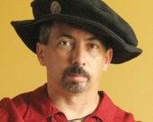 Medieval Celtic Renaissance Tudor Borgias Larp SCA Pancake Hat Deluxe With Concho