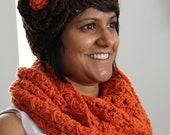 Pumpkin Orange Infinity Scarf with Chocolate Headband