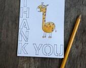 Thank you giraffe card - 4 x 5.5