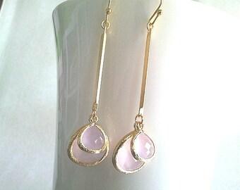 Pink Modern Gold Bar Earrings, Drop Earrings, Dangle Earrings, bridal earrings,Wedding jewelry,flower girl,anniversary gift