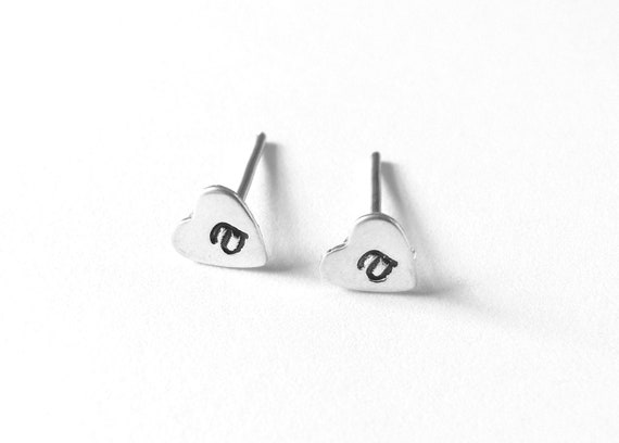 Initial Earrings, Sterling Silver, Hand Stamped Heart Studs