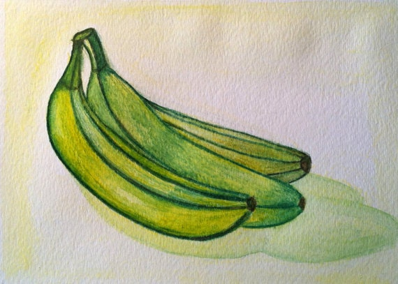 Banana Original Water Color Painting - Modern Kitchen Art