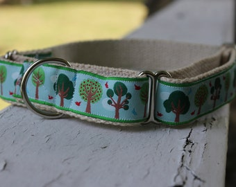 "Sal's Field of Trees on Hemp 1"" Martingale Collar"