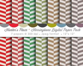 Multiple Color Herringbone Digital Scrapbooking Paper (7 pages)