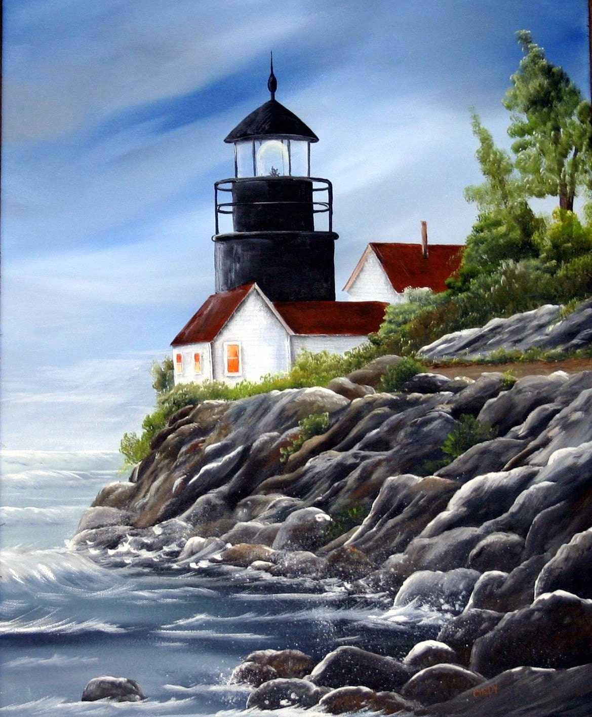Lighthouse original painting, Pemaquid Point Lighthouse ...