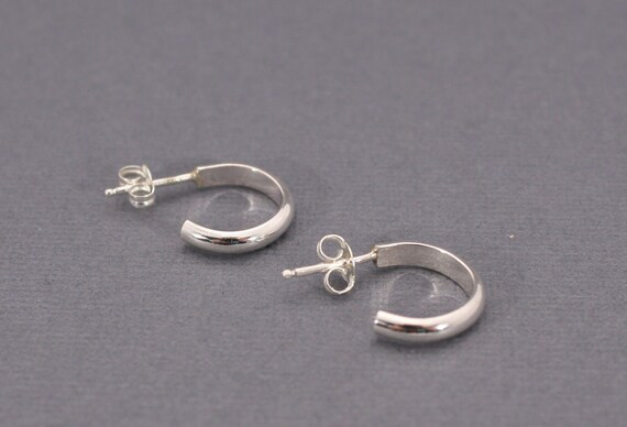 Small Sterling Silver Hoop Post Earrings - Classic Hoops - Hoops with Studs - Small Hoops