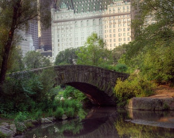 NYC iconic Plaza Hotel shot from Central Park, Gapstow Bridge, Manhattan New York City Original photograph / print.