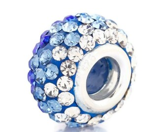 Blue Swarovski Crystal and Sterling Silver Large Hole Beads, for European Style Charm Bracelets, Necklaces, European Charm Beads, Euro Beads